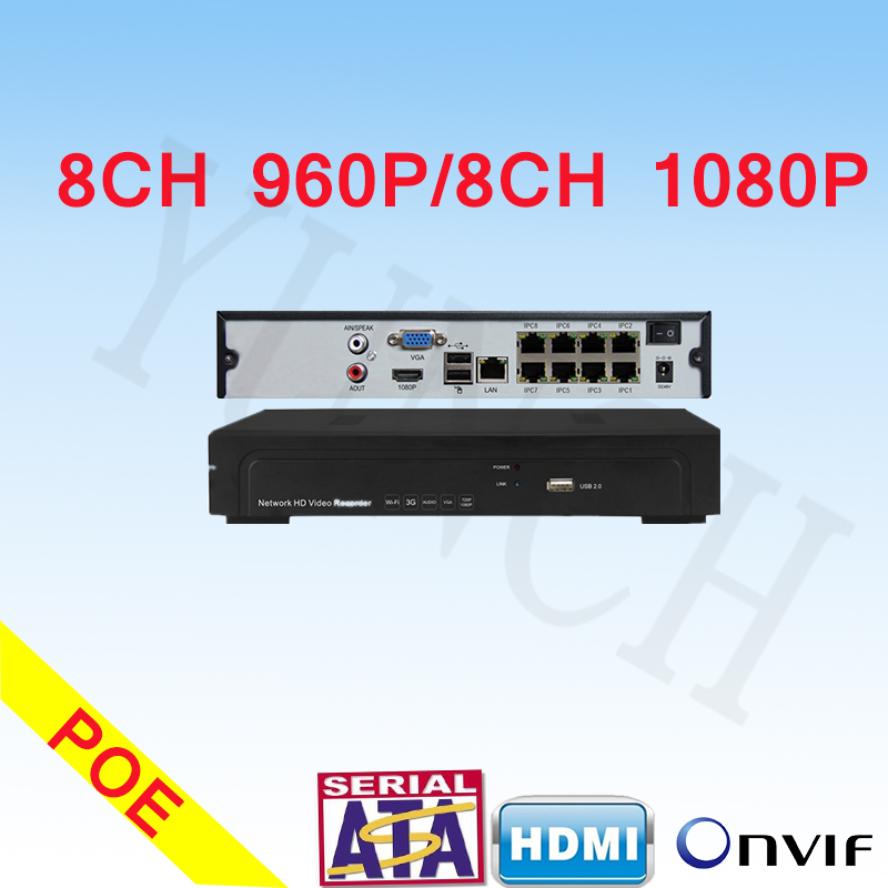 8CH Real time Recording NVR each port support MAX 4TB HDD POE NVR Recorder