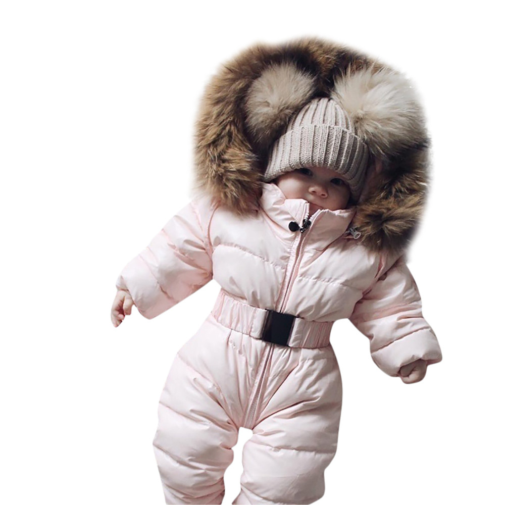 Baby Boys Girls One Piece Hood Winter Snowsuit Jumpsuit Warm Thick Coat