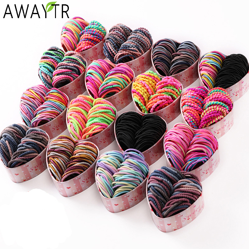 50PCS/Box New Girls Colorful Basic Elastic Hair Bands Ponytail Holder Scrunchies Kids Hair Ropes Rubber Bands Hair Accessories