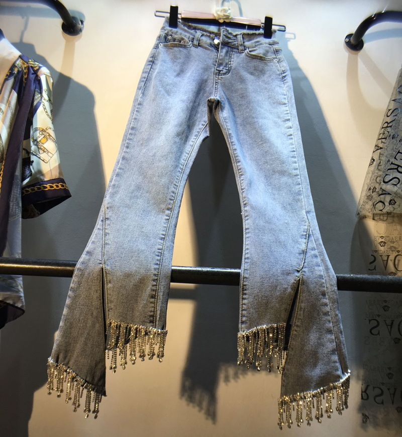 European   Jeans   Lady Spring/Summer New Rhinestone Tassel-studded Nail Beads High Waist Slim Nine-point Slight   Jeans   Womens Pants