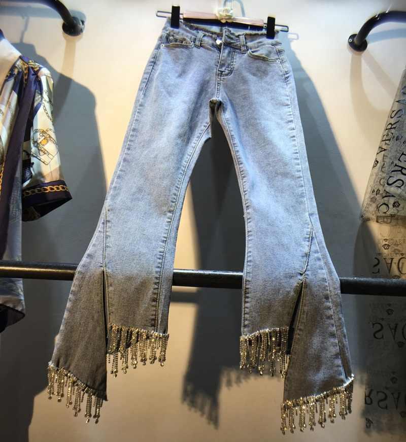 Jeans européens dame printemps/été nouveau strass gland clouté ongles perles taille haute Slim neuf points léger Jeans femmes pantalon