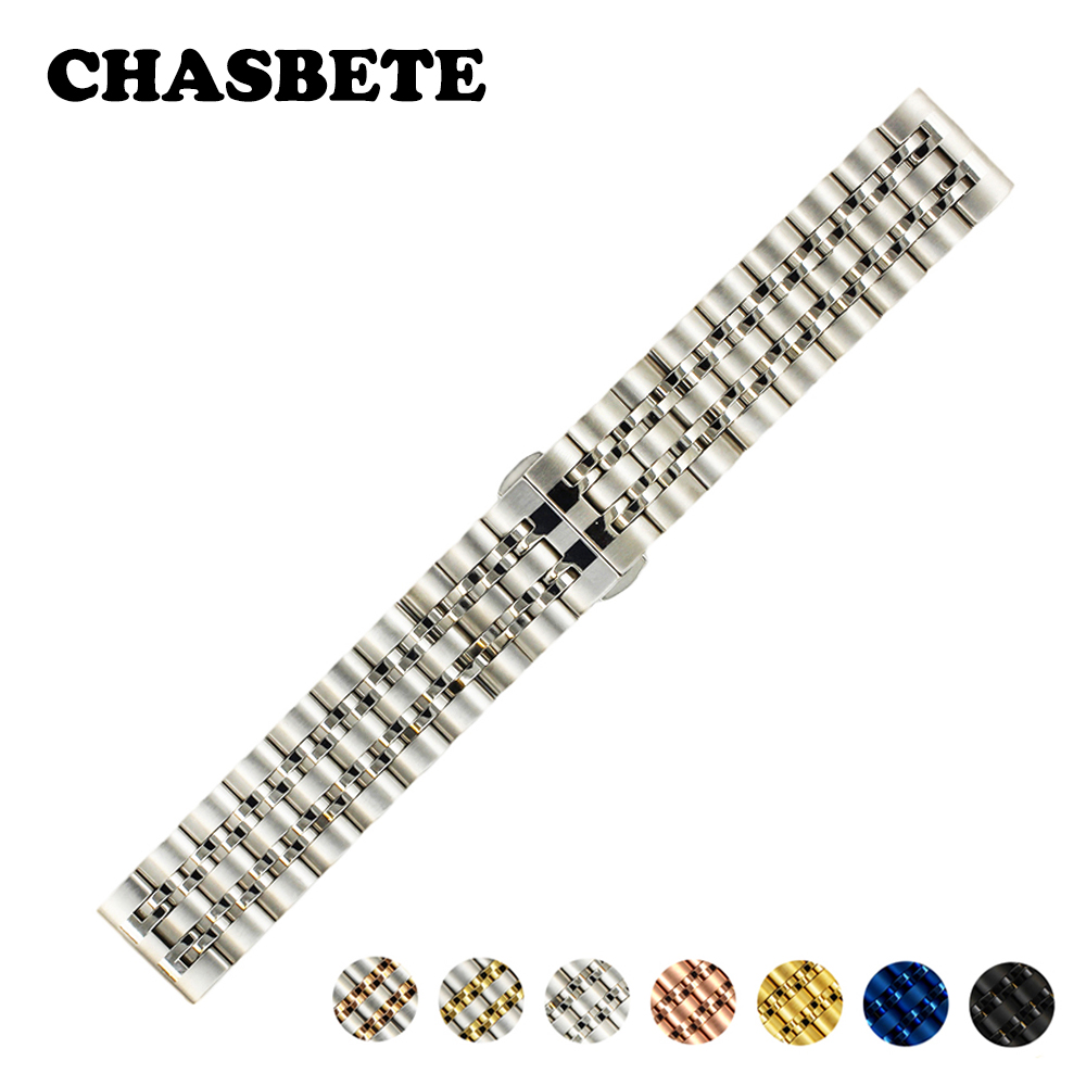 20mm 22mm Stainless Steel Watch Band Universal Watchband Metal Strap Wrist Loop Belt Bracelet Black Silver Blue Rose Gold + Pin 28mm convex stainless steel watchband replacement watch band butterfly clasp strap wrist belt bracelet black rose gold silver page 6