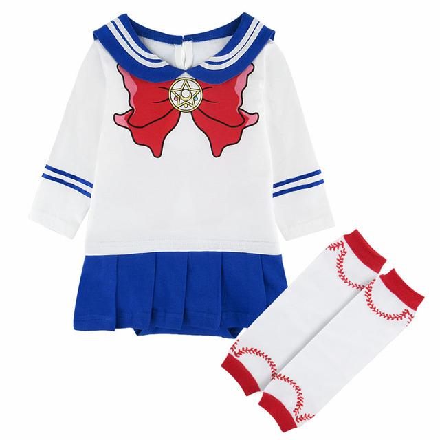Bébé Filles Sailor Moon Body Japonais Anime Cosplay Partie Robe Belle Fille Manches Longues Costume Chaud Jambe bottes Chaussettes 0 -24 m