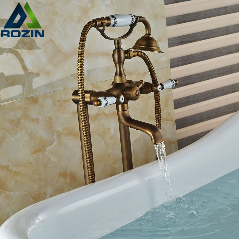 Dual Handles Bathroom Floor Mount Bathtub Filler Freestanding Bathtub Faucet Antique Brass with Hand Shower Rotate Spout самокат action 125мм pu cms125