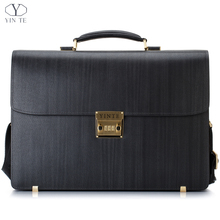 YINTE Fashion Leather Men's Briefcase Classic Formal Blue Business Bag Big And Thick Laptop Totes Lawyer Bags Portfolio T8556-5