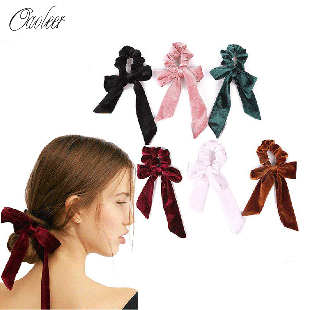 Oaoleer Hair Accessories Bow Streamers Hair Ring Fashion Velvet Hairbands Girl Hair Bands Scrunchies Ponytail Tie Solid   Headwear