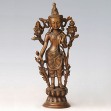 ATLIE BRONZES Copper brass sculpture Bronze Standing Guanyin statues Religious Buddha lucky home decor