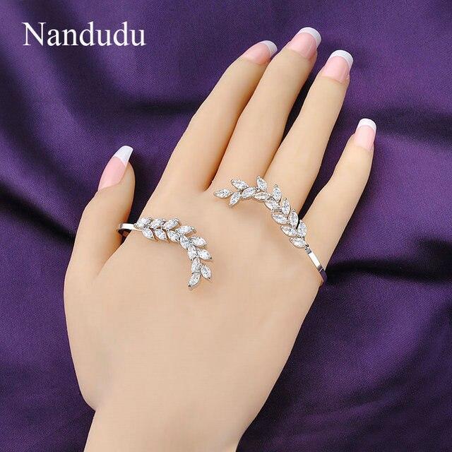 Nandudu Women Fashion AAA Zircon Leaf Palm Cuff White Gold Plated Rock Hand Cuff Palm Bracelet Female Women Gift R942
