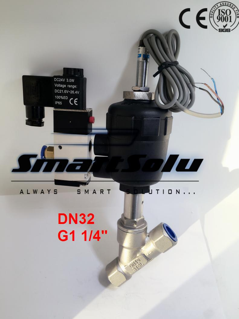 Free shipping DN32 pneumatic angle valve mounted with approach switch and solenoid valve G1 1/4 free shipping dn32 pneumatic angle valve mounted with approach switch and solenoid valve g1 1 4