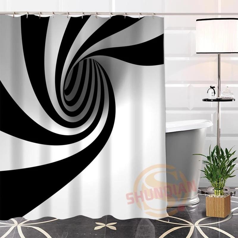 100 polyester black white fabric shower curtain custom popular modern bathroom with hooks new arrival bath curtains