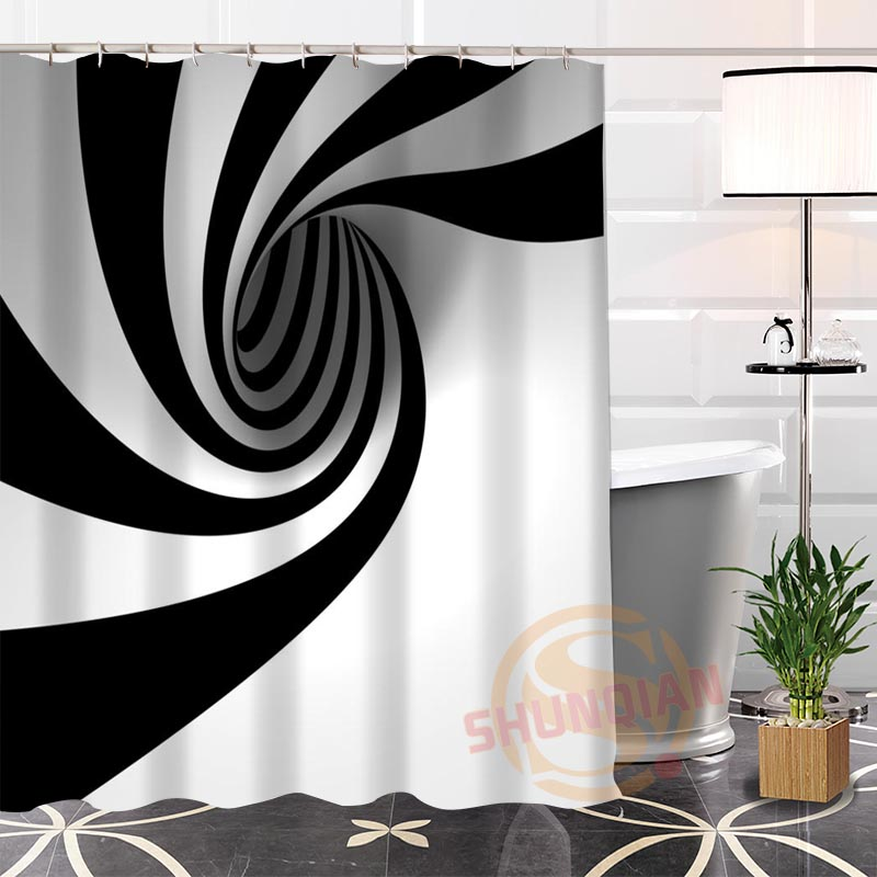 100% Polyester black white Fabric Shower Curtain Custom Popular Modern bathroom With Hooks New arrival Bath Curtains ...