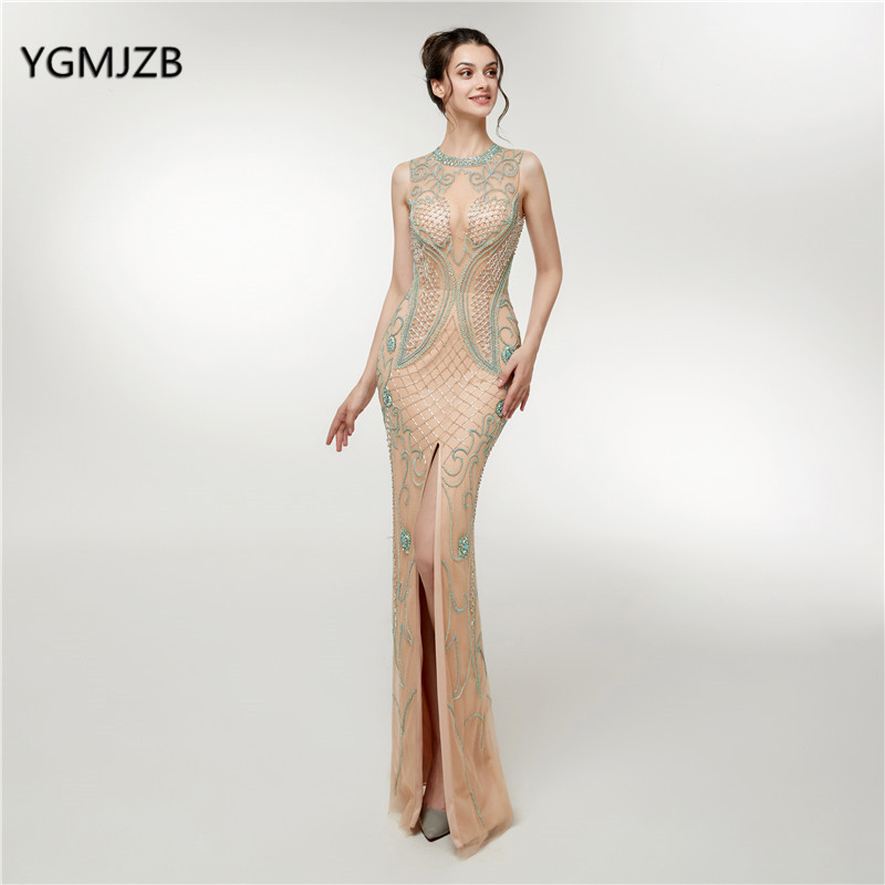 New High-end Mermaid   Evening     Dress   2018 Luxury Champagne Crystal Beading Bacless Sexy Woman Prom Party Gowns Robe De Soiree
