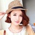 Fashion Summer Beach Sun Straw Hat Women Mens Fedora Wide Brim Trilby Panama Cap