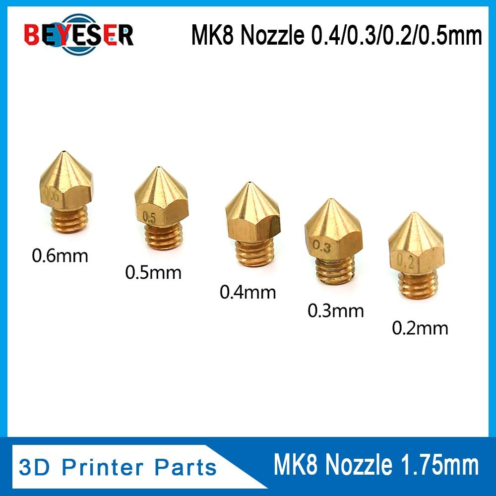 MK7 MK8 Nozzle 0.4mm 0.3mm 0.2mm 0.5mm Copper 3D Printers Parts Extruder Threaded 1.75mm 3.0mm Filament Head Brass Nozzles Part