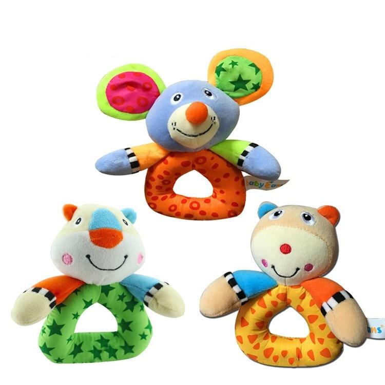 Baby Handbell Kids Infant Plush Handbells Toys Soft Plush Developmental Toys Stuffed Animals Little Bear Mouse Tiger Shape