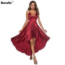 Banulin Party Dress Deep V Neck Spaghetti Strap Sleeveless Maxi Dress Asymmetrical Crisscross Backless High Low Cami Dress недорого