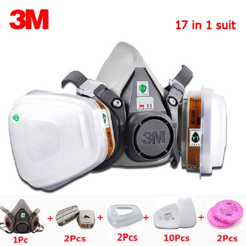 3M 6200 gas mask 17 in 1 set spray paint chemical respirator with 6001 filter 2091P100 particles dustproof work safety mask3M 6200 gas mask 17 in 1 set spray paint chemical respirator with 6001 filter 2091P100 particles dustproof work safety mask