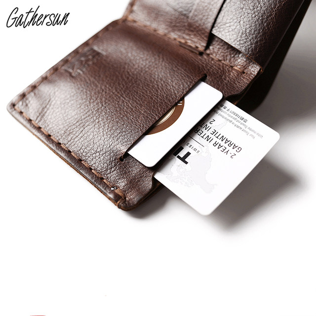 e7c12398b8774b Gathersun Leather Wallet for Men Short Bifold Handmade Leather Credit Card  Wallet Italian Vegetable Tanned Leather Coin Wallet