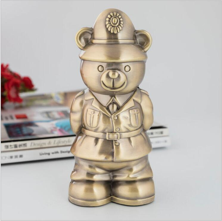 Character Fireman Metal Piggy Bank Safe Safe Deposit Box Money Jar Coin Dispenser Coin Counter For Kids Gifts PB048