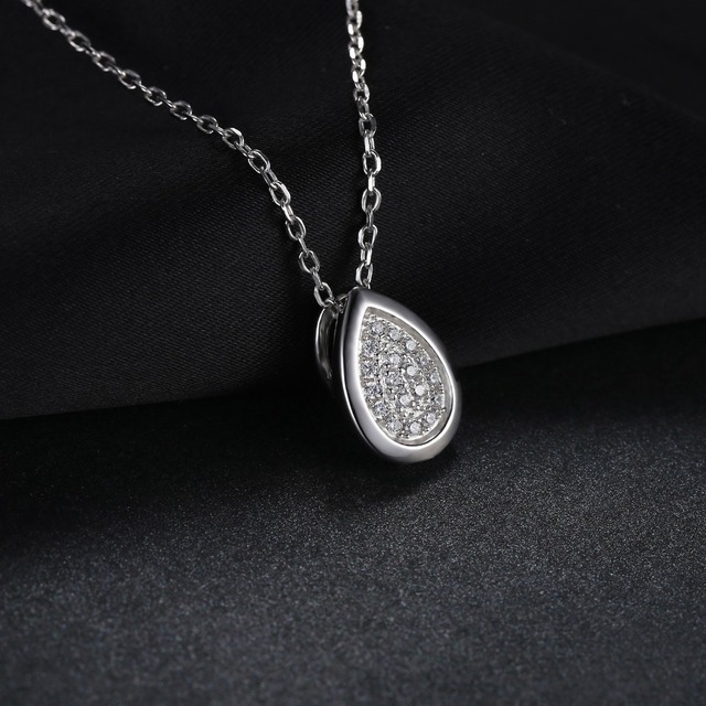 JewelryPalace 925 Sterling Silver Cubic Zirconia Teardrop Chain Pendant Necklace 45cm Engagement Fashion Jewelry Gift For Women