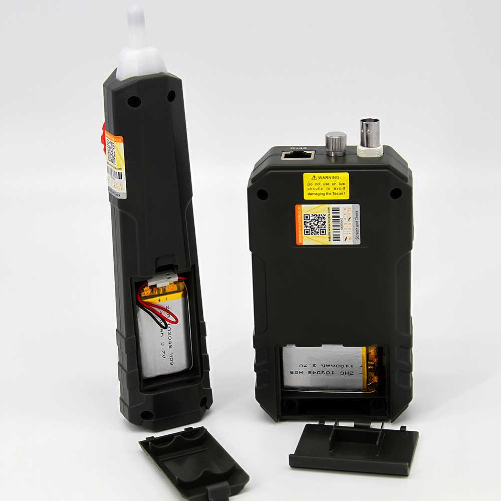 Noyafa NF858C probador de cables LCD rastreador de cables localizador y longitud de medición para RJ11/RJ45 Coax probador de cables con VFL Y NCV función