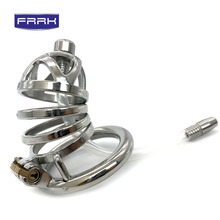 FRRK Chastity Cage For Men catheter Metal Chastity Belt cage Devices Stainless Steel Cock Lock Bondage Penis Ring adult game
