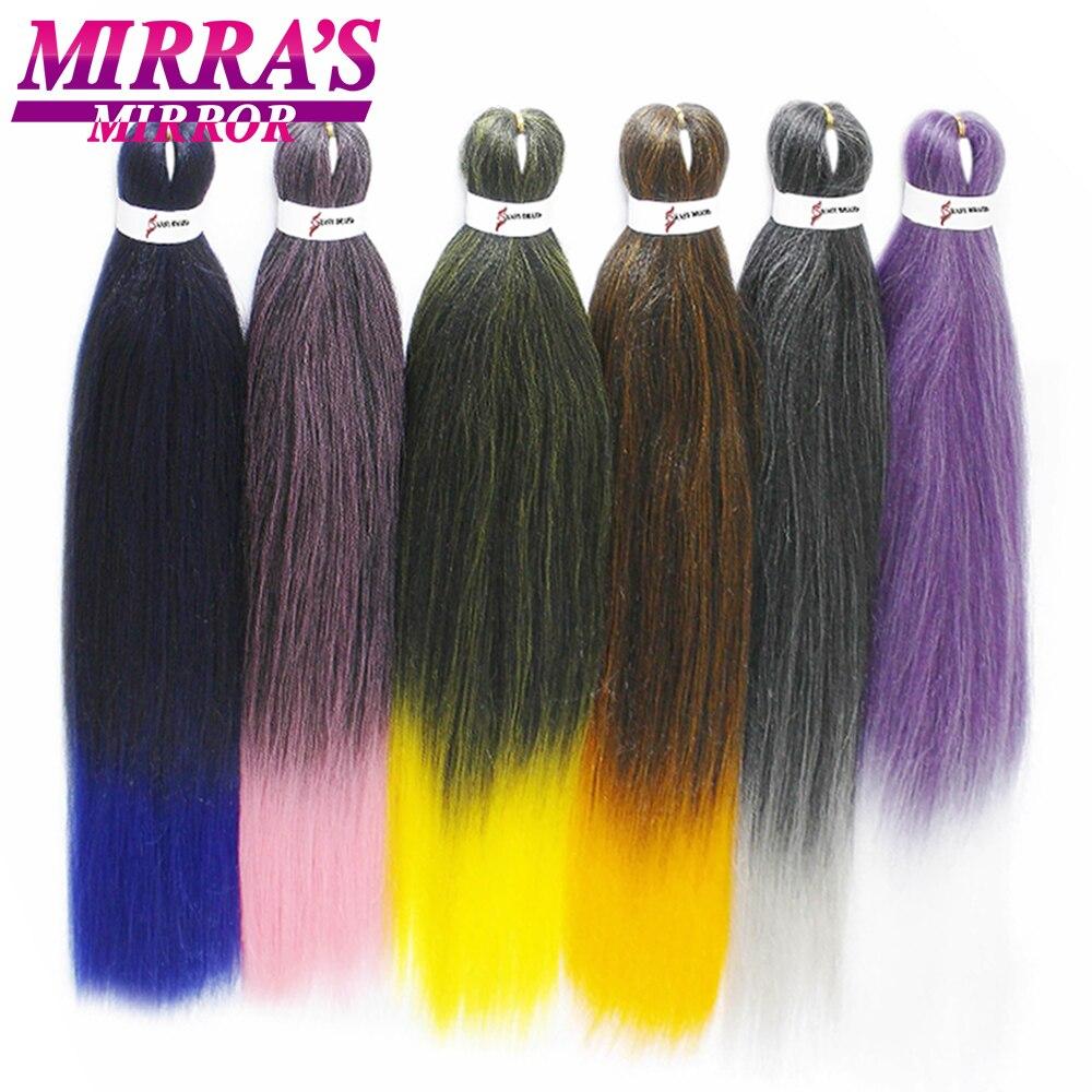 Mirra's Mirror Braiding Hair Easy Crochet Hair Extensions Synthetic Braiding Hair Jumbo Braid Ombre Yaki Style Pre Stretched