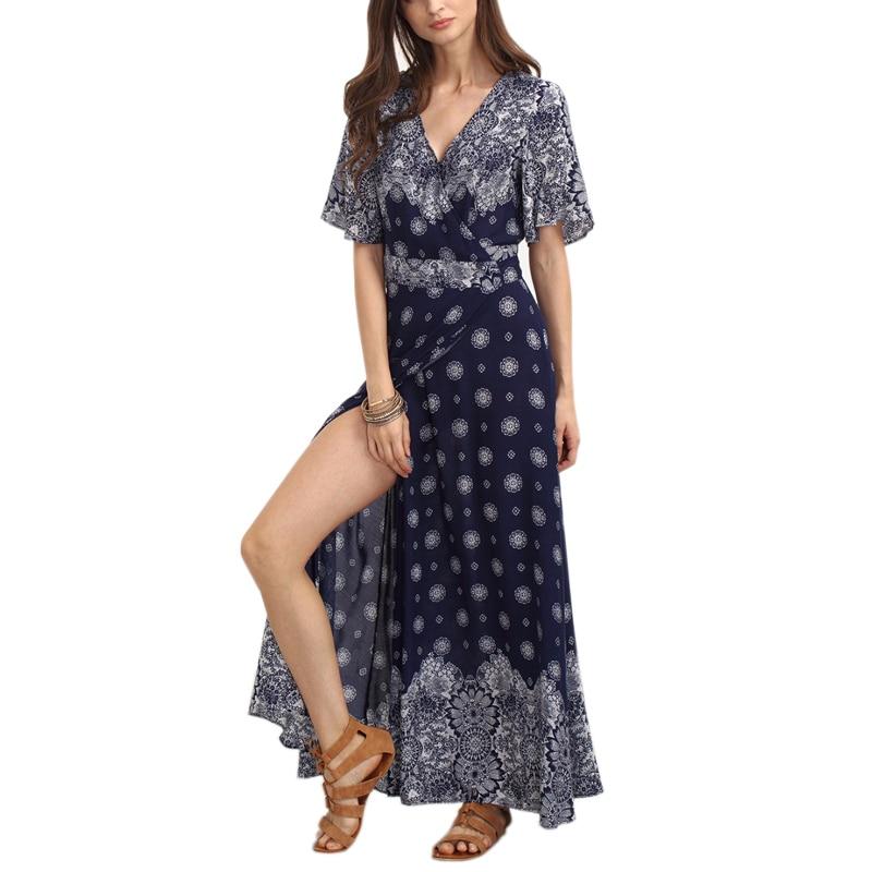 Plus Size 3xl Long Bohemia Dress 2017 Floral Print V Neck