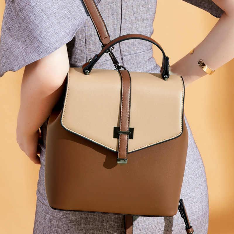 Mschastiye натуральная кожа рюкзак в стиле пэчворк; Цвет Коричневый, Черный/Кофе/рюкзак цвета хаки модные украшения Мягкая задняя тип рюкзак