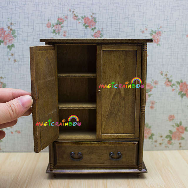 US $14.59 |Dolls House Bedroom Furniture Wardrobe Armoire Retro Cabinet  Cupboard Drawer Wood Dollhouse Miniatures 1:12-in Furniture Toys from Toys  & ...