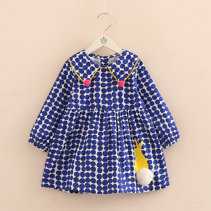 2018 Spring Dot Girls Dresses A-line Dresses Girl Cartoon Rabbit Baby Long Sleeve Princess Dress 2-8Y Girls Clothes Qz4555 забавные аппликации домашние животные