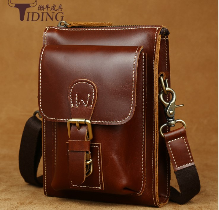 2018 new man genuine leather travel small mobile waist bags brown fashion man casual vintage cow leather  crossbody bags 2018 new man genuine leather travel small mobile waist bags brown fashion man casual vintage cow leather  crossbody bags
