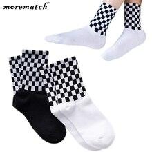 Morematch 1Pair Men Hip Hop Sock Harajuku Black White Grid Cotton Socks Trend College Style 2 Colors Optional