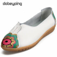 New Women Casual Shoes Printing Genuine Leather Femal Flats Soft Woman's Loafers Mother Leisure Boat Shoe Lady Driving Footwear