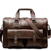 Luxury Split Leather Business Men's Briefcase Large Vintage Shoulder Bag Men Messenger Bag Tote Classic Computer Travel Handbag