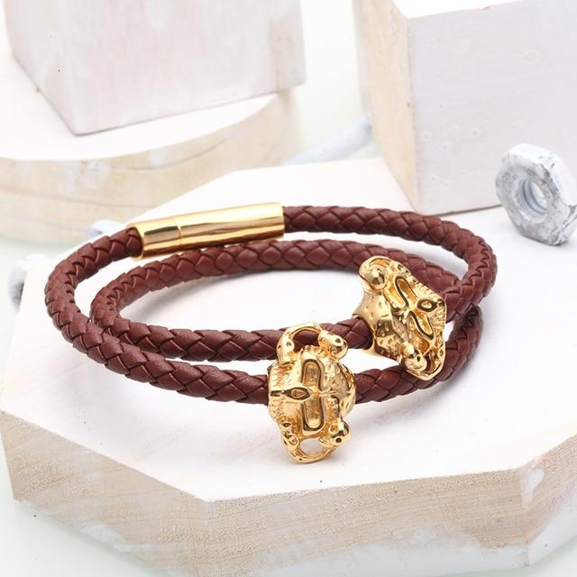 Mcllroy leather bracelets men skull charm diy bracelet ...