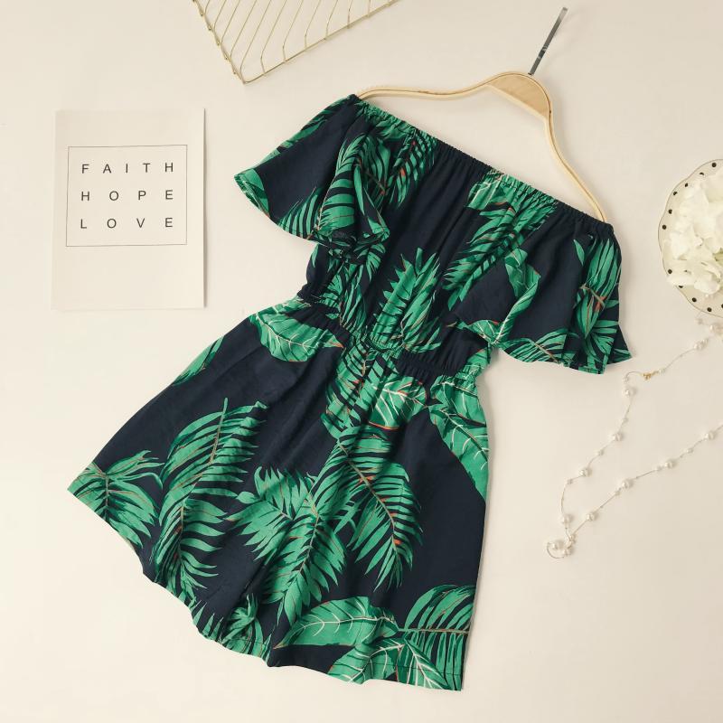 Sexy Jumpsuits Slash Neck Shorts Ruffle Leaf print Casual Summer Elegant Ladies Short Jumpsuit romper women summer jumpsuit 2018
