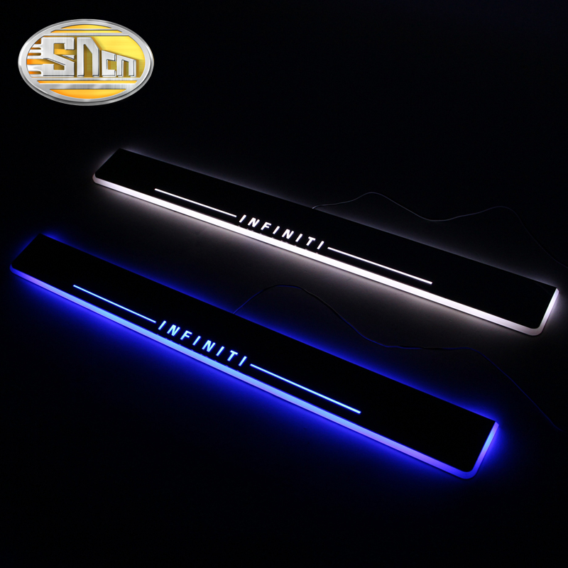 SNCN 4PCS Car LED Door Sill For Infiniti QX70 2013 2014 2015 2016 Ultra-thin Acrylic Flowing LED Welcome Light Scuff Plate Pedal free ship rear door of high quality acrylic moving led welcome scuff plate pedal door sill for 2013 2014 2015 audi a4 b9 s4 rs4 page 5
