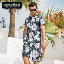 2019 new big Code fashion mens shorts short sleeve set Beach casual