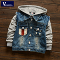 2016 autumn and winter fashion classic hot boy hooded denim jacket hole printing pentagram Children's clothes