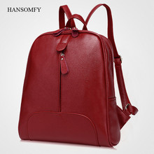 Preppy Style Backpacks For College Students Genuine Leather Zipper Fashion Red Bags For Women Sweet Solid Big Capacity Backpacks