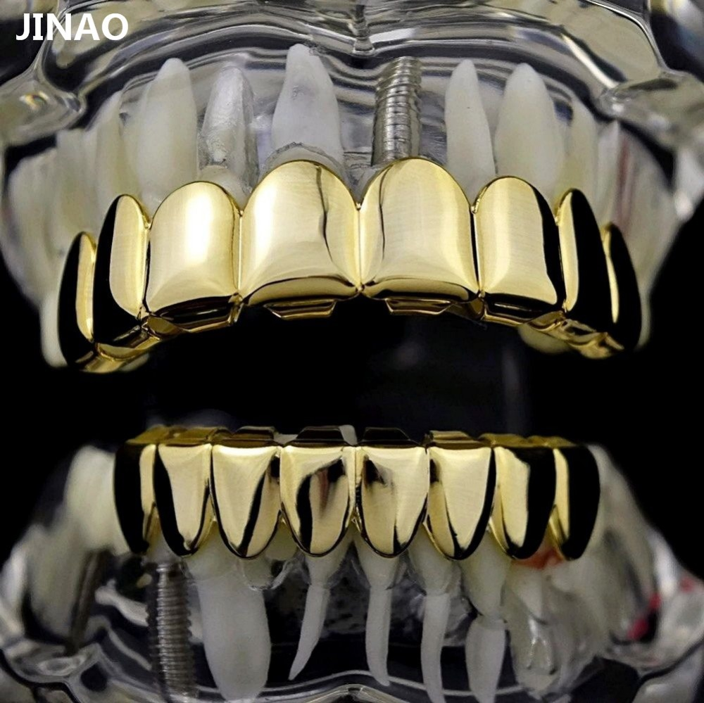 Hip Hop 8/8 Gold Teeth Grillz Set Top & Bottom Grills Dental Mouth Punk Teeth Caps Cosplay Party Tooth Rapper Halloween Jewelry topgrillz hip hop grillz iced out aaa zircon fang mouth teeth grillz caps top