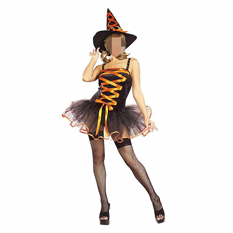 Wholesale <font><b>Halloween</b></font> <font><b>Sexy</b></font> <font><b>Adult</b></font> <font><b>Witch</b></font> Costume For Women Orange Fashion Braces Tutu Dress With <font><b>Witch</b></font> Hat Carnival Party Costume image