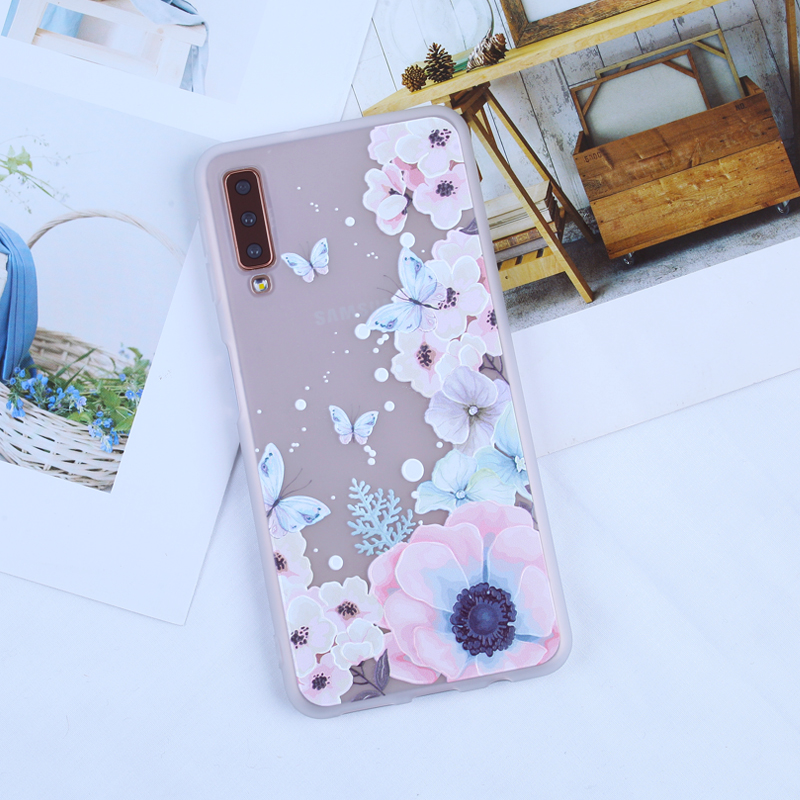 Cases For Samsung Galaxy A6 A7 A8 Plus 2018 3D Relief Coques For A3 A5 A7 2016 2017 S7 Edge S8 S9 Plus S10 Lite Soft TPU Capas in Fitted Cases from Cellphones Telecommunications