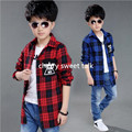 Новый мальчик одежды весна стиль клетчатую рубашку досуг куртка мальчик рубашка 4-15 лет детская одежда детей одежда