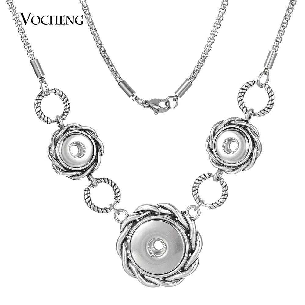 Vocheng Snap Button Jewelry 18mm With 12mm Small Size Gingersnaps Necklace Jewelry With Stainless Steel Chain NN-684