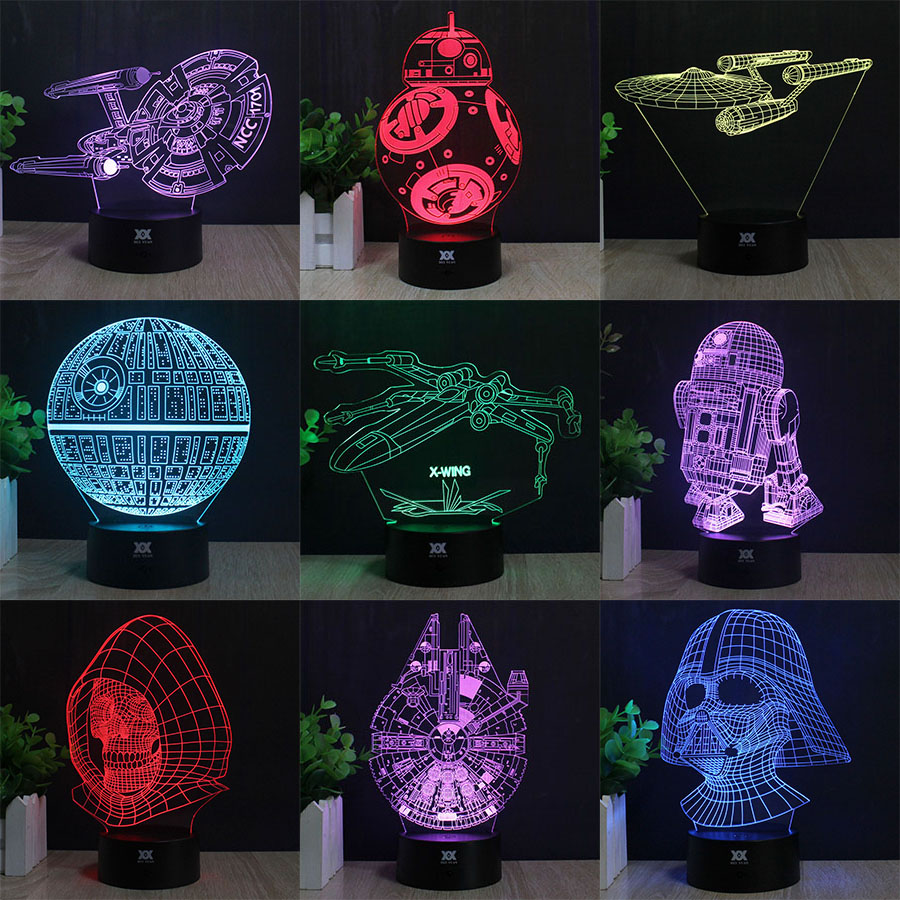 Star Wars Lamp BB-8 Death Star R2-D2 Millennium Falcon Skywalker 3D Lamp LED Novelty Night Lights Child's Gift HUI YUAN Brand star wars death star 3d color changing led wall lamp night light creative novelty toy rgb colorfull action figure