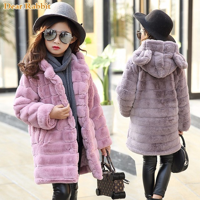 Special Price New 2018 fashion Winter warm Girls clothing Outerwear Children Faux Fur Rabbit ears Coat kids Jacket girl clothes thickn parkas