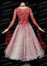 Top sales New Style!ballroom Standard Dance Dress,Waltz Competition Dress,Women, Red wine,Sunflower Dance Dress