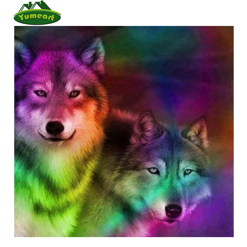DIY Diamond Painting 5D Rhinestone Embroidery Home Office Art Craft Decor Wolves